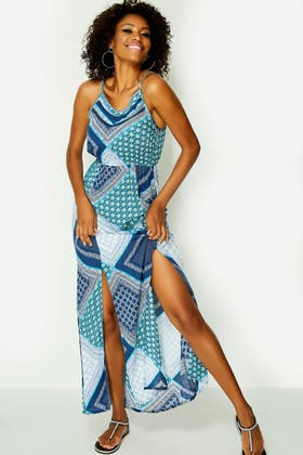 BLUE MIX TILE STRAPPY MAXI DRESS