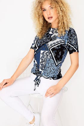 BLUE PAISLEY TIE FRONT TEE