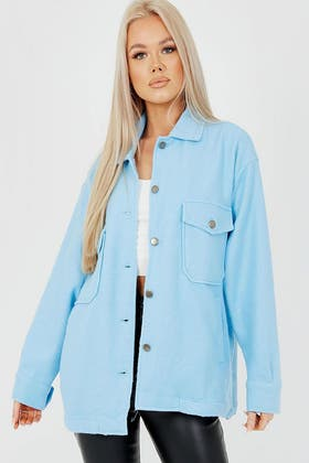 BLUE Plain Classic Thick Shirt Jacket Shacket