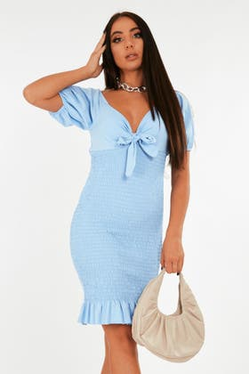 BLUE Shirred mini dress with puff sleeve