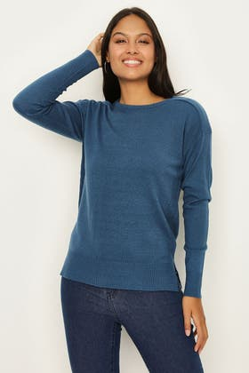 BLUE SOFT TOUCH FASHIONING DETAIL JUMPER
