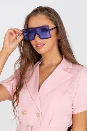 BLUE Square Frame Sunglasses