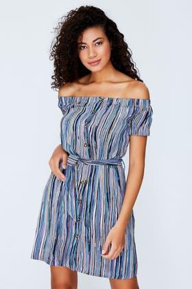 BLUE TEXTURED STRIPE BUTTON BARDOT DRESS