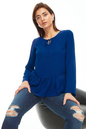 BLUE TIERED LOTUS LS BLOUSE