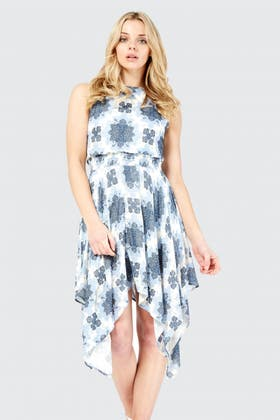 BLUE TILE PRINT HANKY HEM DRESS