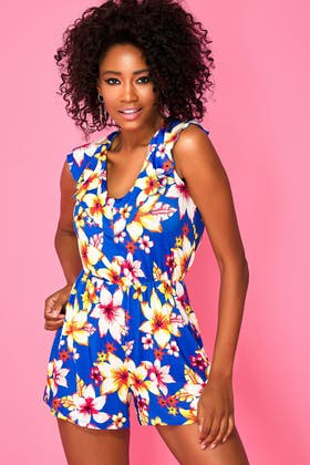 BLUE TROPICAL V FRILL JERSEY PLAYSUIT