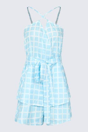 BLUE Window Pane Check Wrap Front Tiered Playsuit