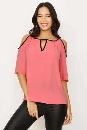 BRIGHT CORAL BINDING DETAIL KEYHOLE BLOUSE