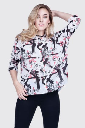 BRIGHT CORAL SPLICED FLORAL BATWING SHIRT