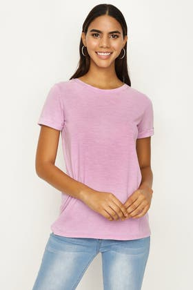 BRIGHT LILAC WASHED CONTRAST LATTICE TEE