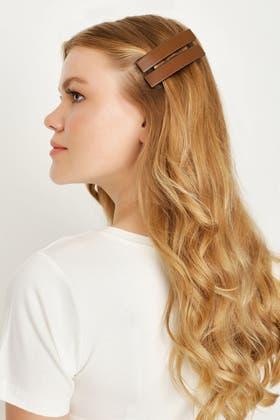 BROWN 2 PACK BARRETTE HAIR CLIPS