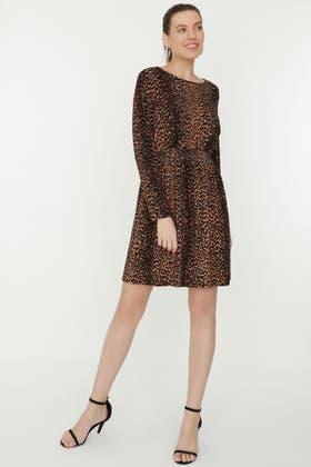 BROWN ANIMAL SHIRRED HEM DRESS