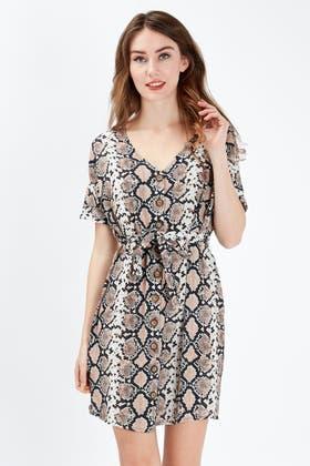 BROWN PYTHON CREPE SHIRT DRESS