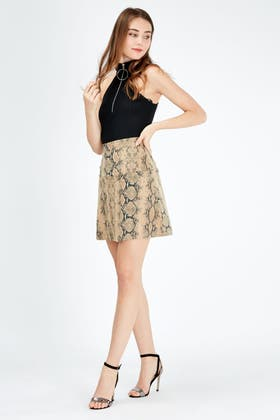 BROWN SUEDE ANIMAL A LINE SKIRT
