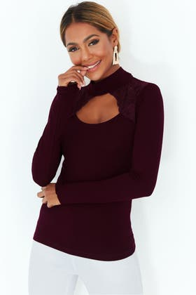 BURGUNDY LACE CUT OUT TOP