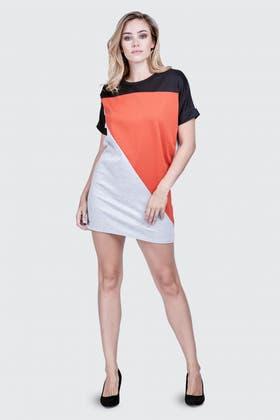 BURNT ORANGE COLOUR BLOCK PONTE SHIFT DRESS