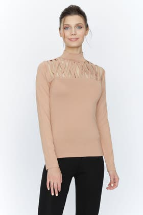 CAMEL CROSS STRAP CUT OUT TOP