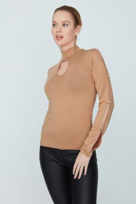 CAMEL PEARL CUT OUT LONG SLEEVE TOP