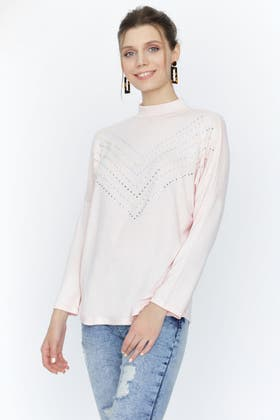 CHALK PINK DIAMANTE AND PEARL CHEVRON BRUSHED TOP
