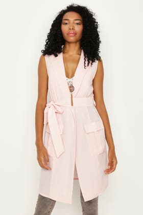 CHALK PINK SLEEVELESS LONGLINE CREPE BELTED DUSTER