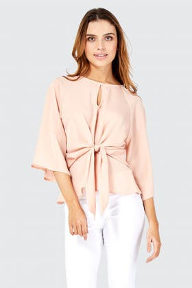 CHAMPAGNE TIE FRONT 3/4 SLEEVE BLOUSE