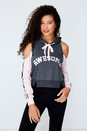 CHARCOAL AWESOME COLD SHOULDER HOODIE