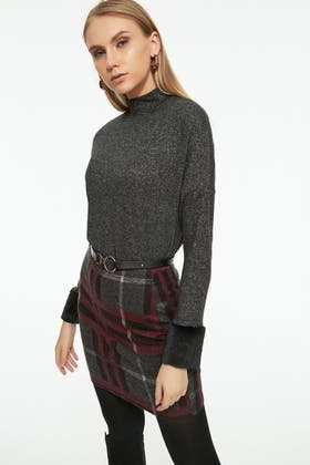 CHARCOAL BRUSHED FUR CUFF HIGH NECK TOP