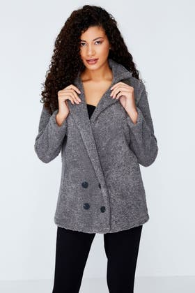 CHARCOAL DOUBLE BREASTED REVERE COLLAR TEDDY JACKET