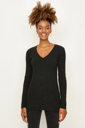 CHARCOAL Knitted V Neck Jumper