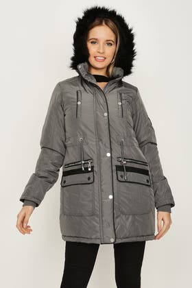 CHARCOAL LUXE PU TRIM PARKA