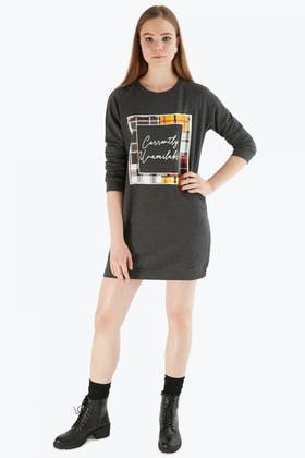 CHARCOAL SQUARE  CHECK PRINT SWEAT DRESS