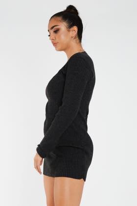CHARCOAL V neck Knitted RIB Tunic Dress