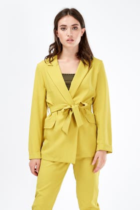 CHARTREUSE STATEMENT TAILORED BELTED BLAZER