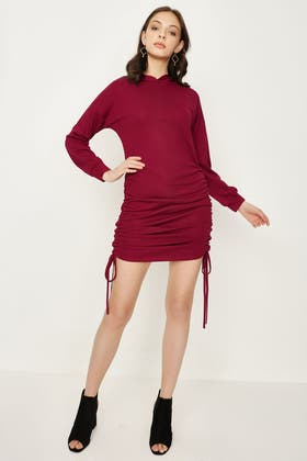 CHERRY RUCHED SIDE SWEAT DRESS