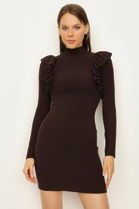 CHESTNUT RUFFLE DETAIL HIGH NECK BODYCON DRESS