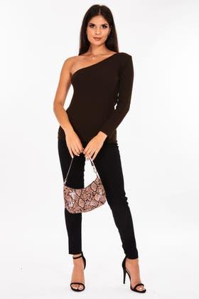 BROWN One Shoulder Knitted Jumper