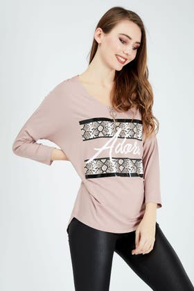 CLAY ADORE SNAKE ZIP FRONT TOP