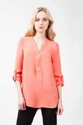 CORAL ZIP INSERT ROLL SLV BLOUSE