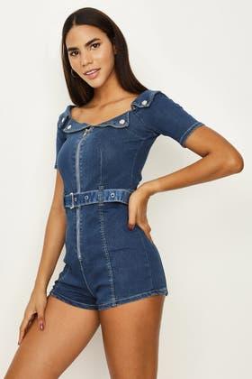 DENIM BLUE Bardot Zip Front Belted Playsuit