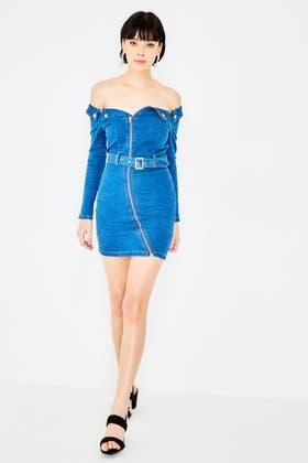 DENIM BLUE Bardot Denim Bodycon Dress