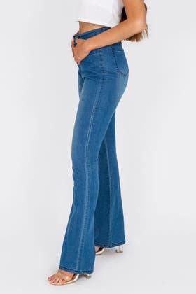 DENIM BLUE High waisted Flare Jeans