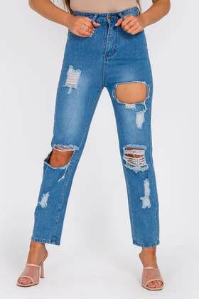 DENIM BLUE Mid Rise Ripped Jeans