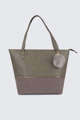GREY POMPOM TRIM ZIP SHOPPER BAG