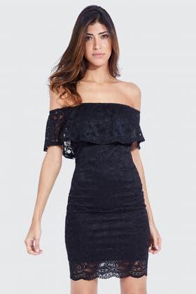 BLACK LACE FRILL BARDOT BODYCON DRESS