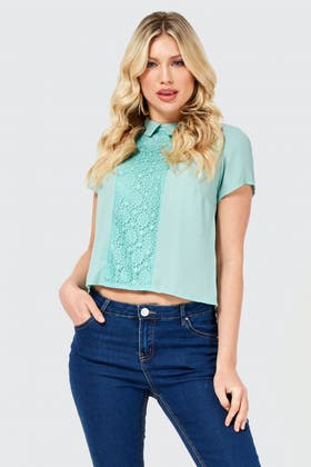 DUCK EGG LACE INSERT COLLAR LOTUS TOP