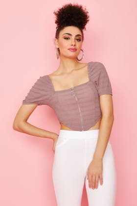 DUSTY LILAC WAFFLE STRIPE PUFF SLEEVE ZIP FRONT