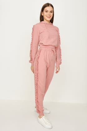 DUSTY PINK FRILL SIDE JOGGER