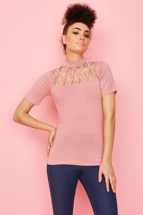 DUSTY PINK PEARL CROSS STRAP FRONT TOP