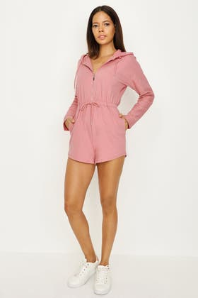 DUSTY PINK ZIP FRONT HOODED PLAYSUIT