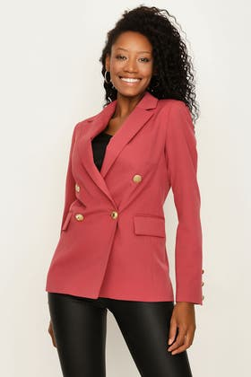 EARTH RED DOUBLE BREASTED GOLD BUTTON JACKET